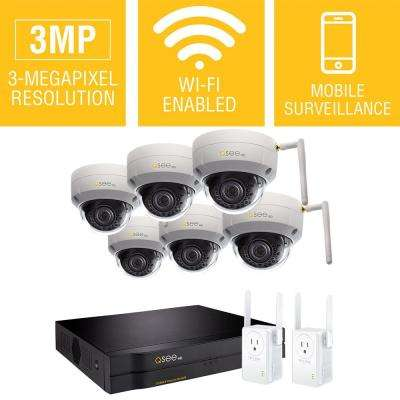 8-Channel 3MP 2TB Wi-Fi Surveillance NVR with 6-Dome Cameras and 2 Wi-Fi Extenders