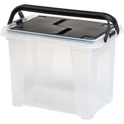 25 Qt. Letter Size Portable Wing Lid File Storage Box in Black