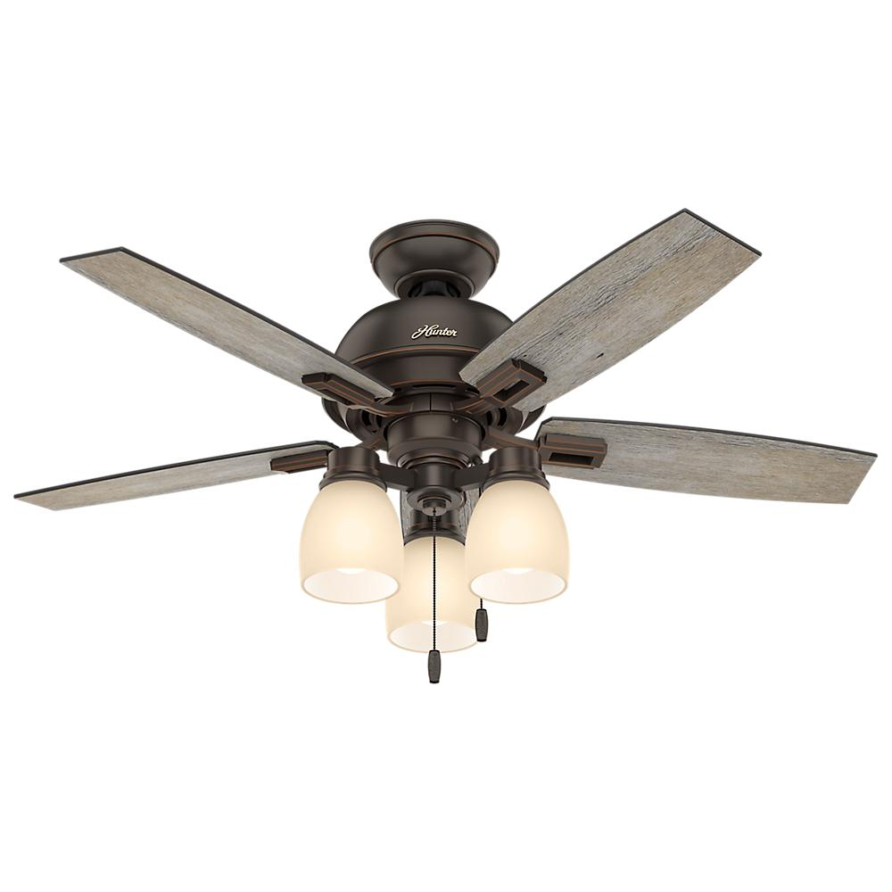 ceiling fan 44 inch. Hunter Donegan 44 In. LED 3-Light Indoor Onyx Bengal Bronze Ceiling Fan-52228 - The Home Depot Fan Inch