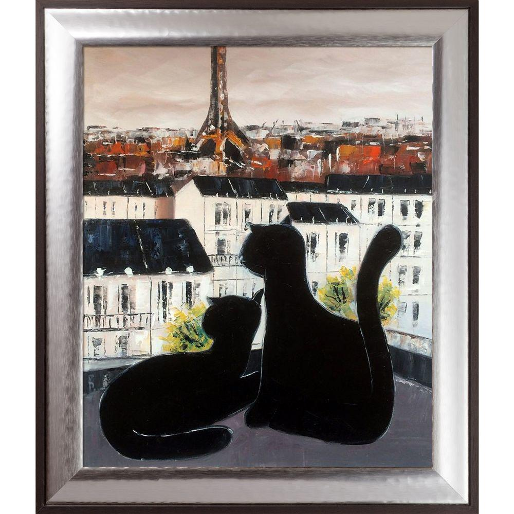 ArtistBe Black Cat with His Pretty on Paris Roofs III Reproduction with Magnesium Silver Frameby Atelier de Jiel Canvas Print, Multi-color was $845.5 now $347.71 (59.0% off)