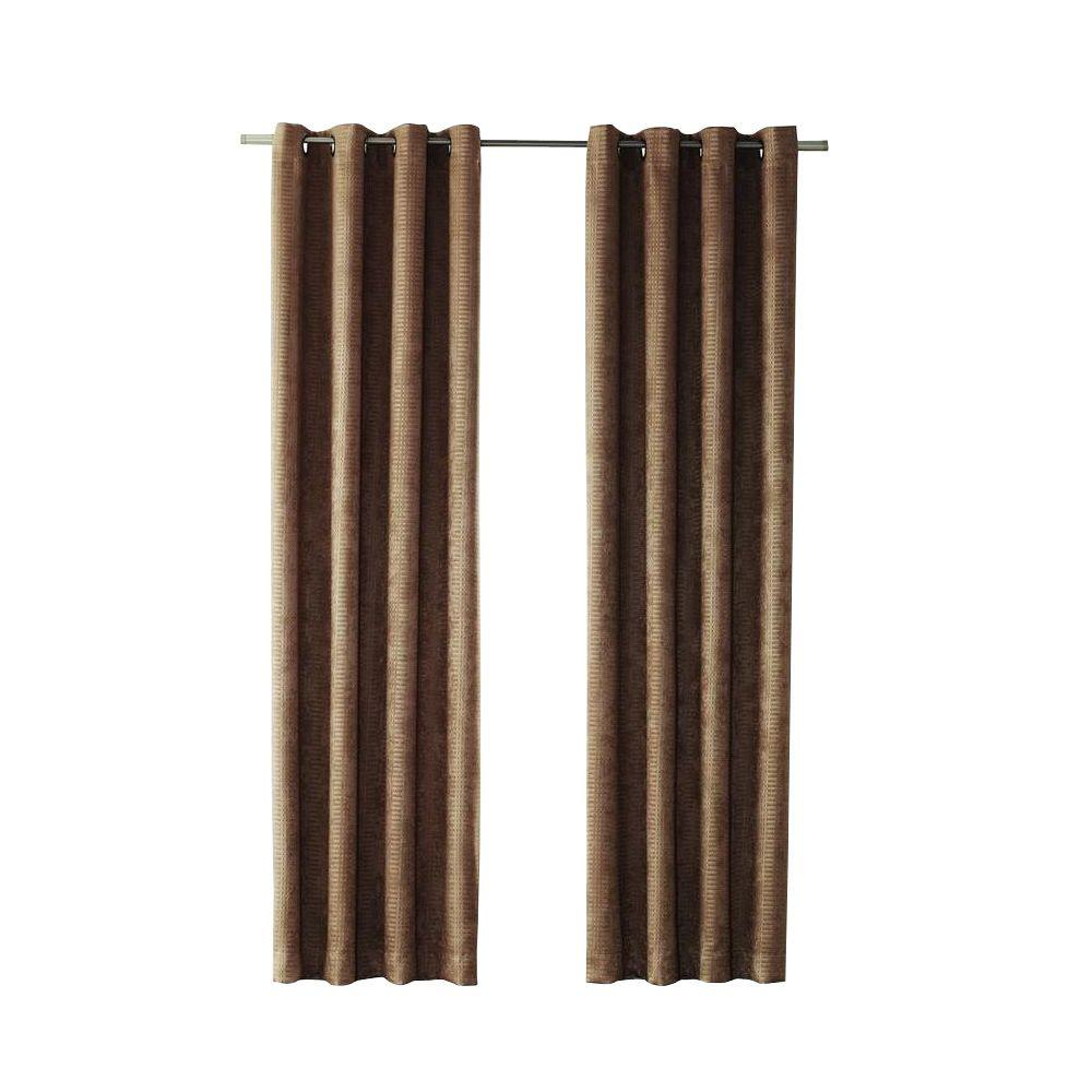 Mocha Cooper Grommet Room Darkening Curtain - 50 in. W x