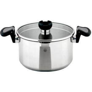 ARON 2.6 Qt. Stainless Steel Stock Pot with Swivel Handles and Strainer Lid