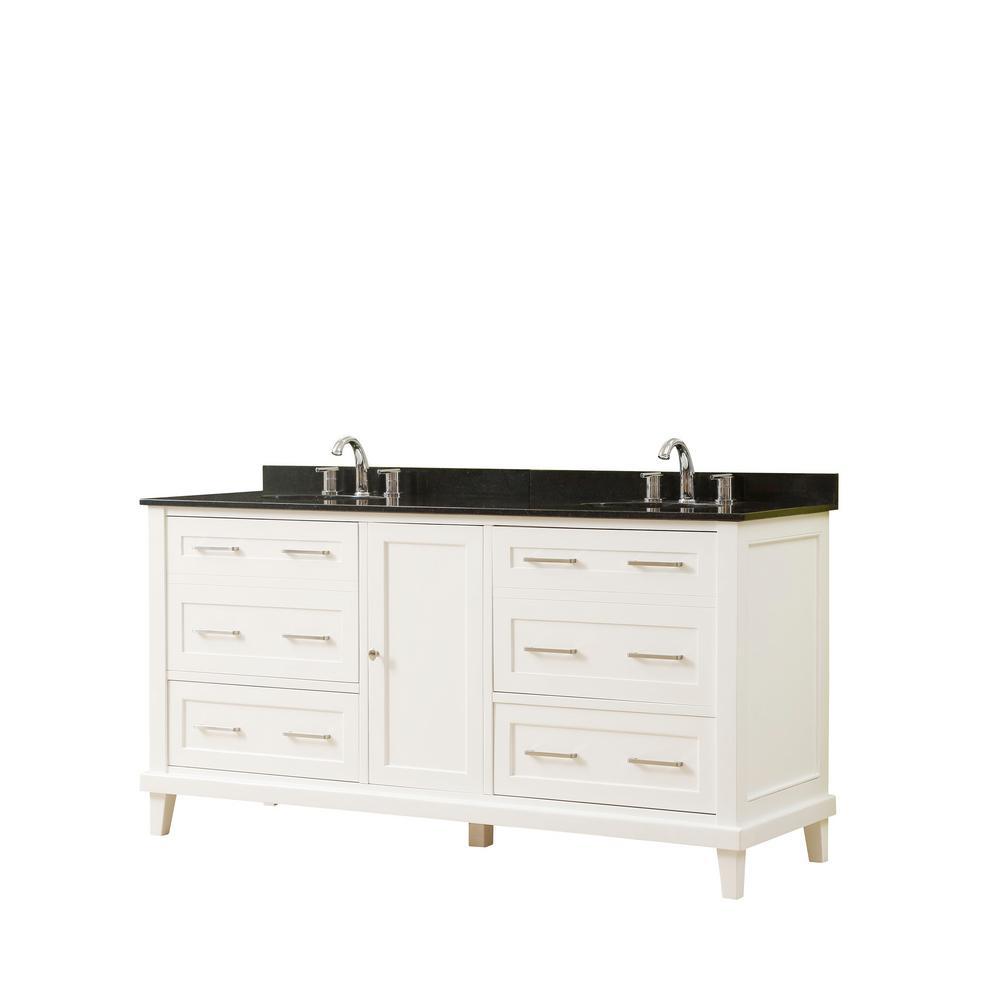 Direct vanity sink Winslow 70 in. W x 23 in. D Vanity in White with Granite Vanity Top in Black with White Basin