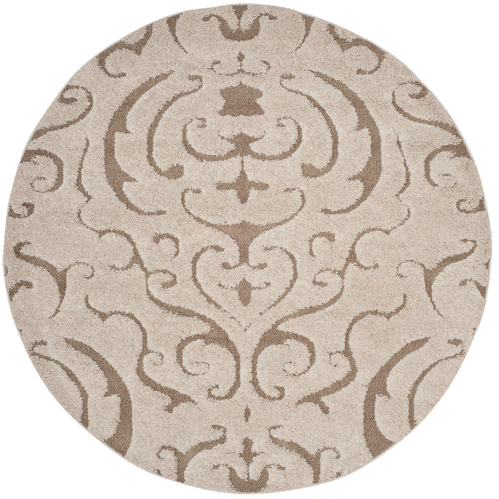 Safavieh Florida Shag Cream Beige 7 Ft X 7 Ft Round Area Rug Sg467