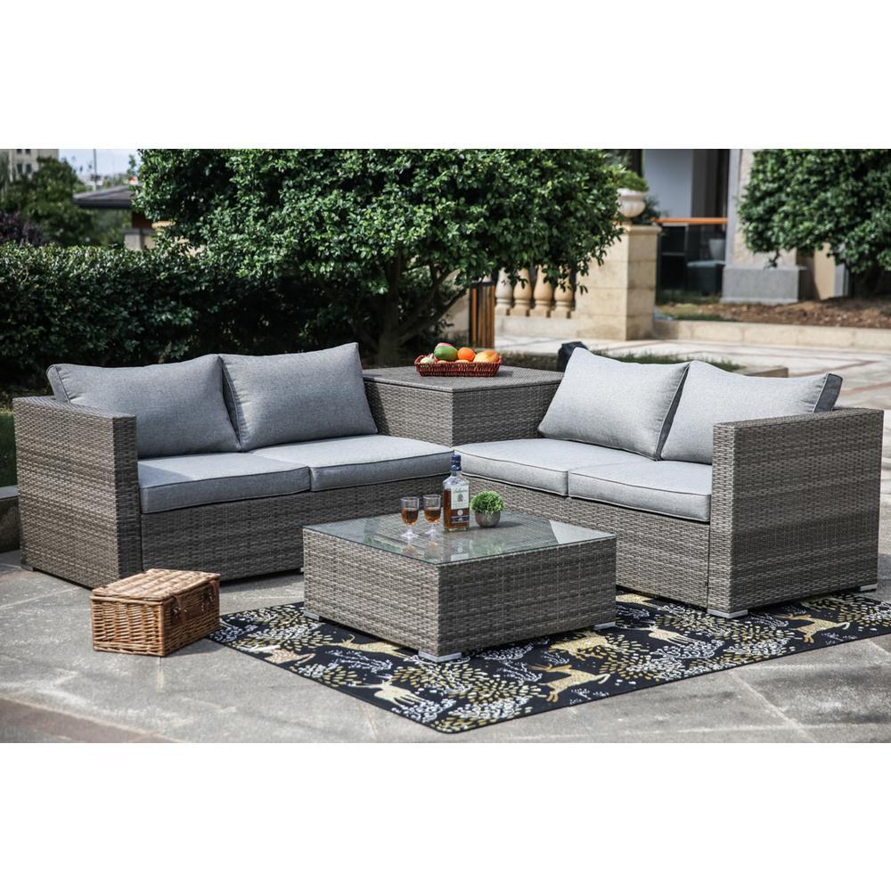 4-Piece Wicker Patio Deep Seating Set with Gray Cushion