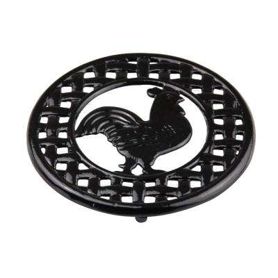 8 in. x 8 in. x 5 in. Cast Iron Rooster Trivet