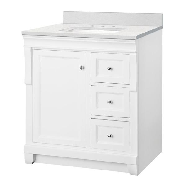 Naples 31 in. W x 22 in. D Bath Vanity Cabinet in White with Engineered Marble Vanity Top in Snowstorm with White Basin