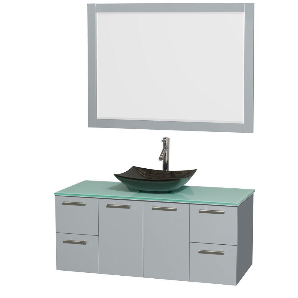 Wyndham Collection Amare 48 in. W x 21.75 in. D Vanity in Dove Gray with Glass Vanity Top in Green with Black Basin and 46 in. Mirror