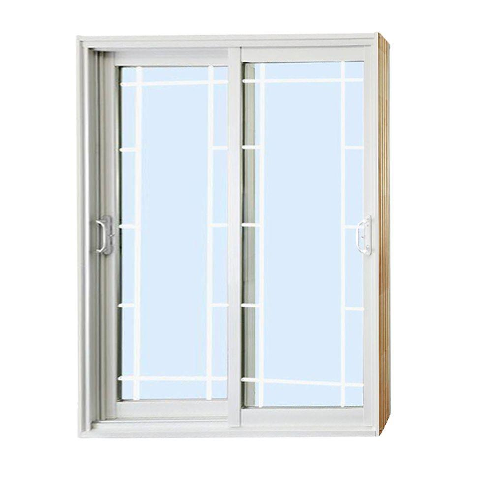 Stanley doors 72 in x 80 in double sliding patio door for Sliding double doors