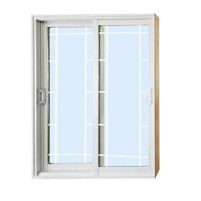 72 in. x 80 in. Double Sliding Patio Door with Prairie Style Internal Grill