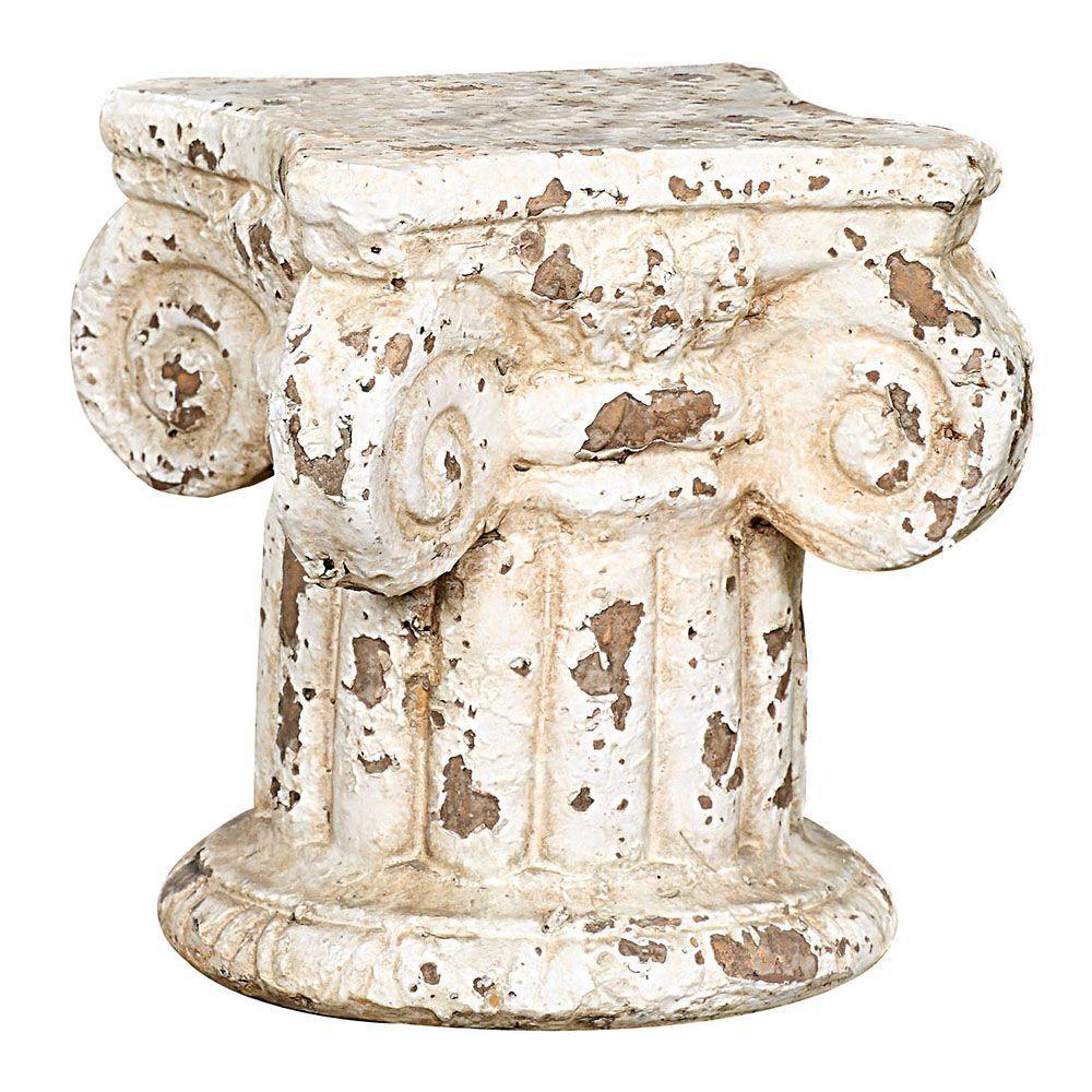 Kasos 7 in. H Distressed Cream Pedestal