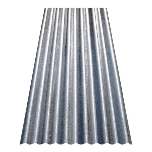 Gibraltar Building Products 8 Ft Corrugated Galvanized Steel Utility Gauge Roof Panel 13513 The Home Depot
