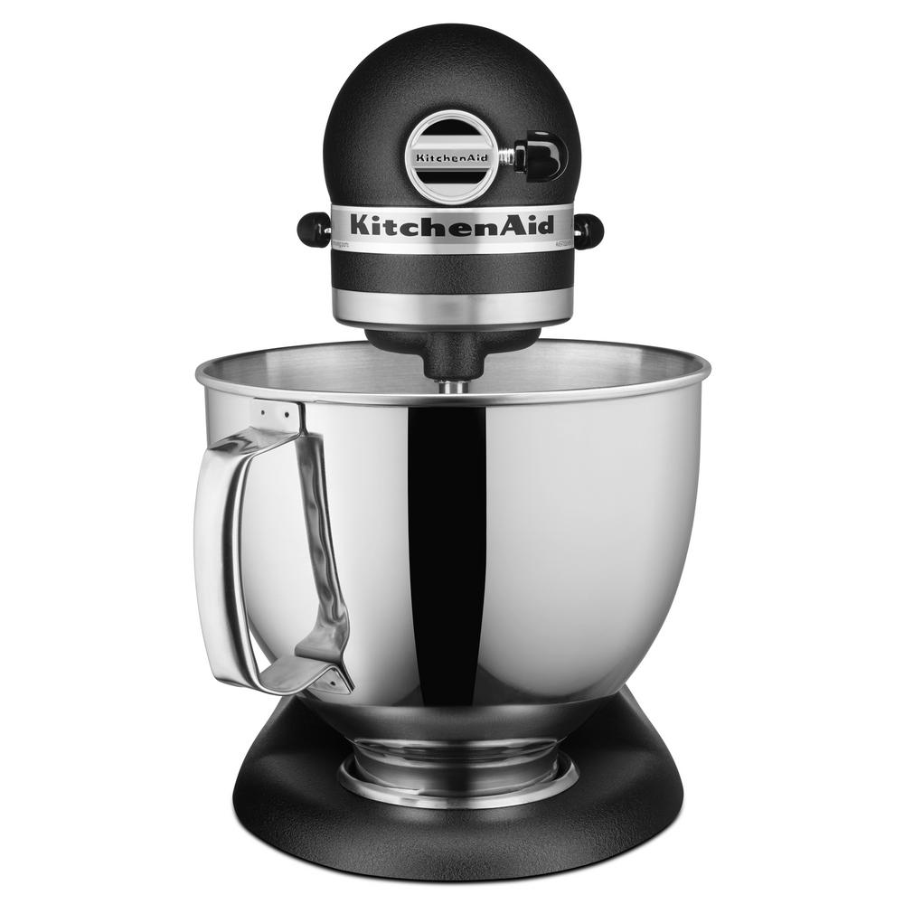 Artisan Series 5 Qt. Tilt-Head Imperial Black Stand Mixer Make up to 9-dozen cookies in a single batch with the KitchenAid Artisan Series 5 Qt. Tilt-Head Stand Mixer. This mixer also features 10-speeds to thoroughly mix, knead and whip ingredients quickly and easily and is available in a variety of colors to perfectly match your kitchen design or personality. For even more versatility, use the power hub to turn your stand mixer into a culinary center with over 10-optional hub powered attachments, from food grinders to pasta makers and more. Color: Black.