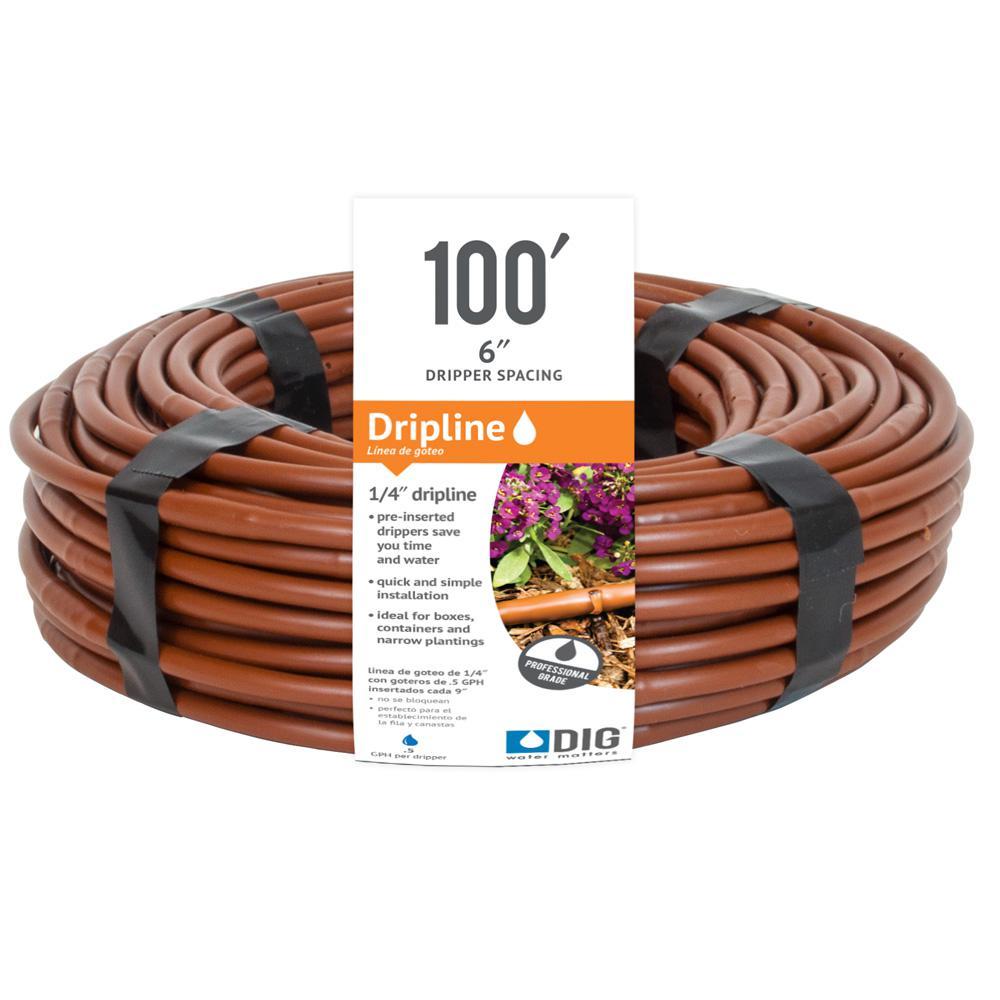 1/4 in. Emitter Tubing 100 ft. W/6 in. Spacing in Brown