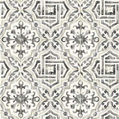 56.4 sq. ft. Sonoma Black Spanish Tile Wallpaper