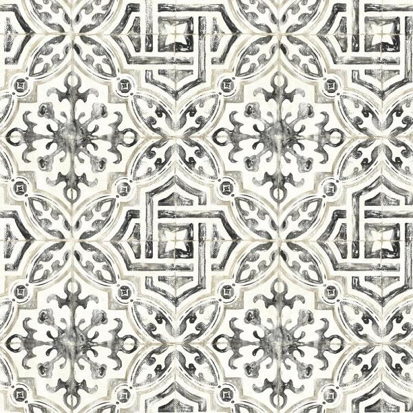 Chesapeake 56.4 sq. ft. Sonoma Black Spanish Tile Wallpaper 3117-12331