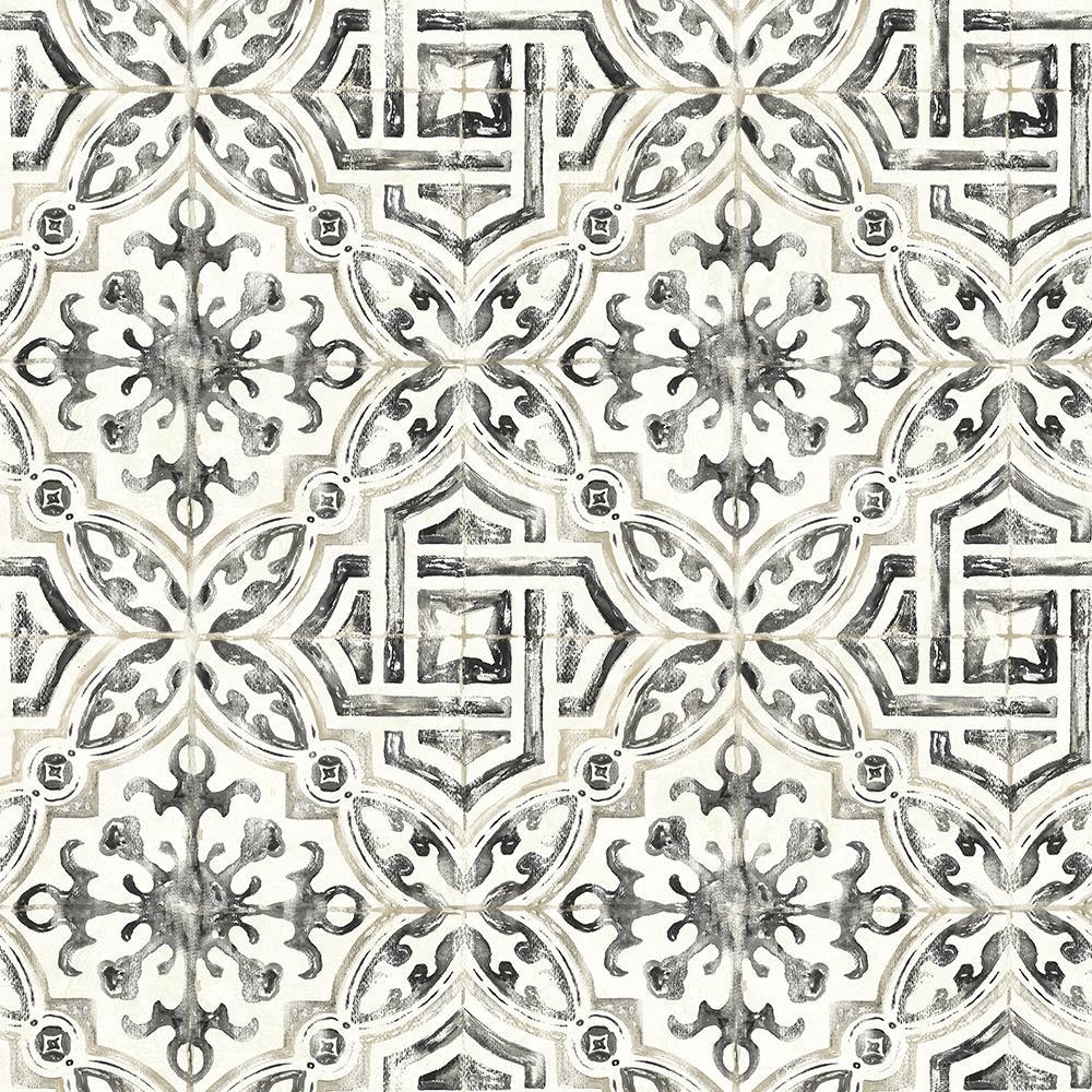 8 in. x 10 in. Sonoma Black Spanish Tile Wallpaper Sample