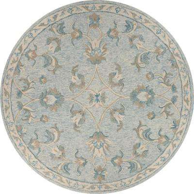 Victorian Baby Blue 4 ft. 10 in. Mirroring Floral Bloom Round Area Rug