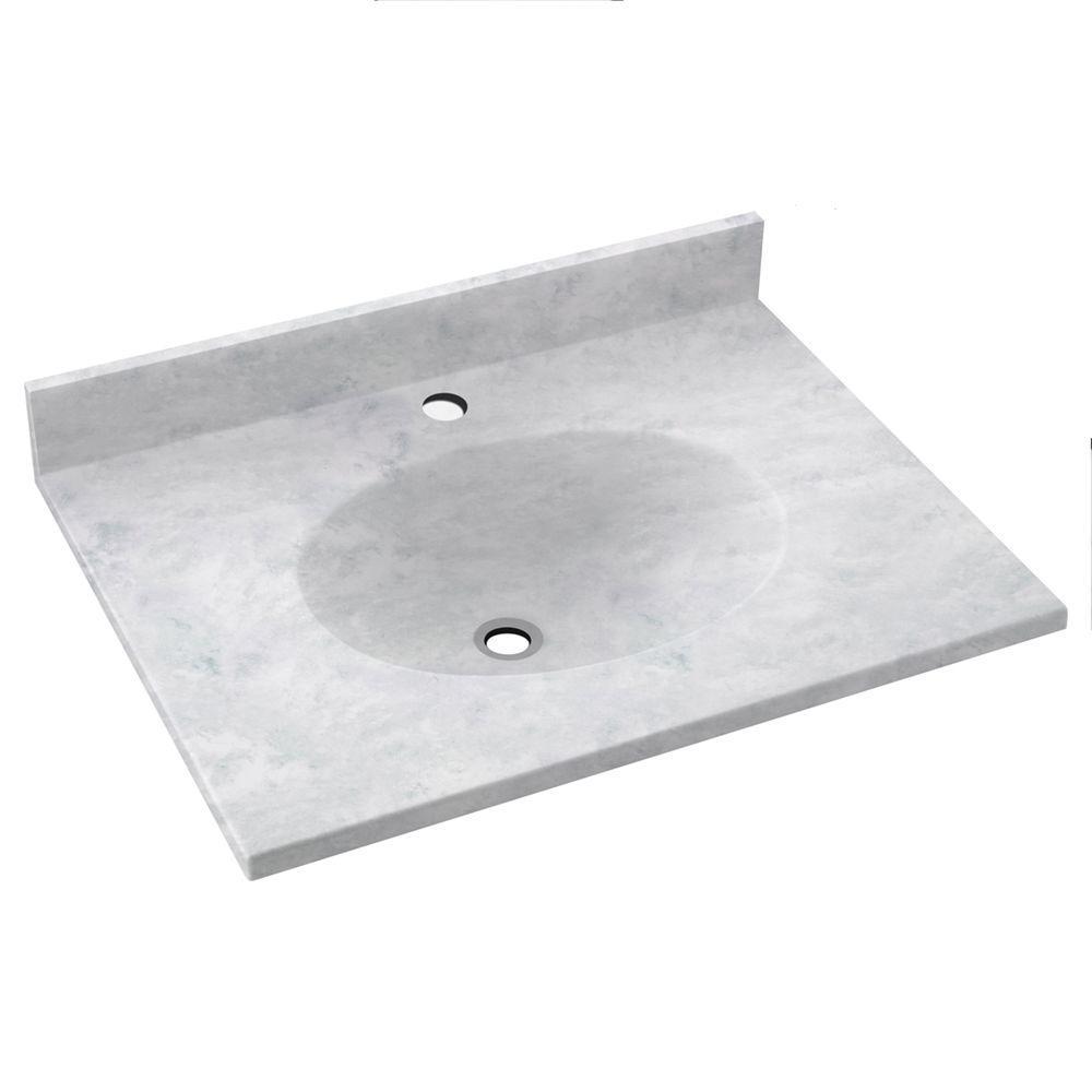 SWAN Ellipse 19 in. W x 17 in. D Solid Surface Vanity Top...
