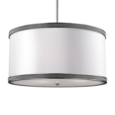 Pave 20 in. W. 3-Light Polished Nickel Pendant