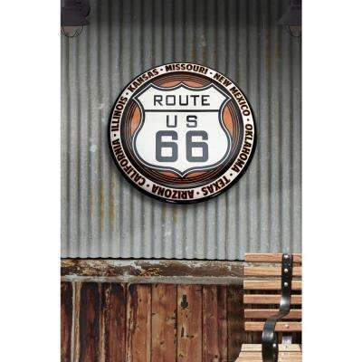 24 in. x 24 in. Route 66 Hollow Curved Tin Button Sign