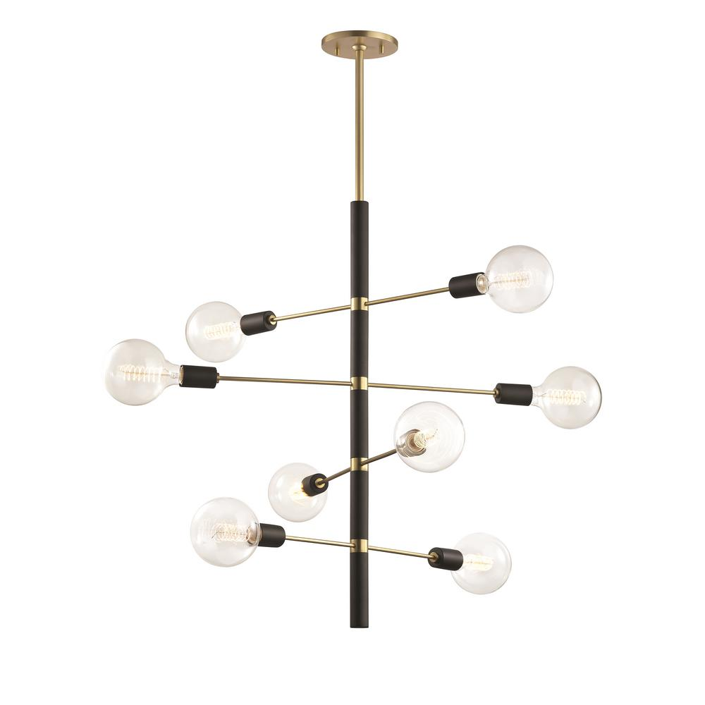 Mitzi by Hudson Valley Lighting Astrid 8-Light Aged Brass Chandelier with Black Accents