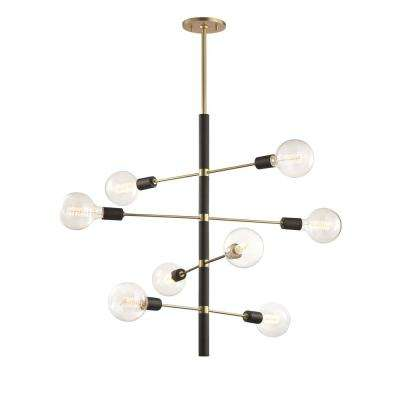 Astrid 8-Light Aged Brass Chandelier with Black Accents