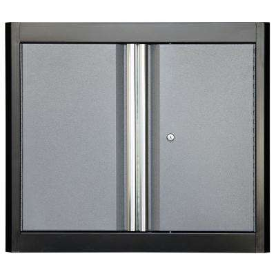 26 in. H x 30 in. W x 12 in. D Steel Garage Freestanding Cabinet in Black/Multi-Granite