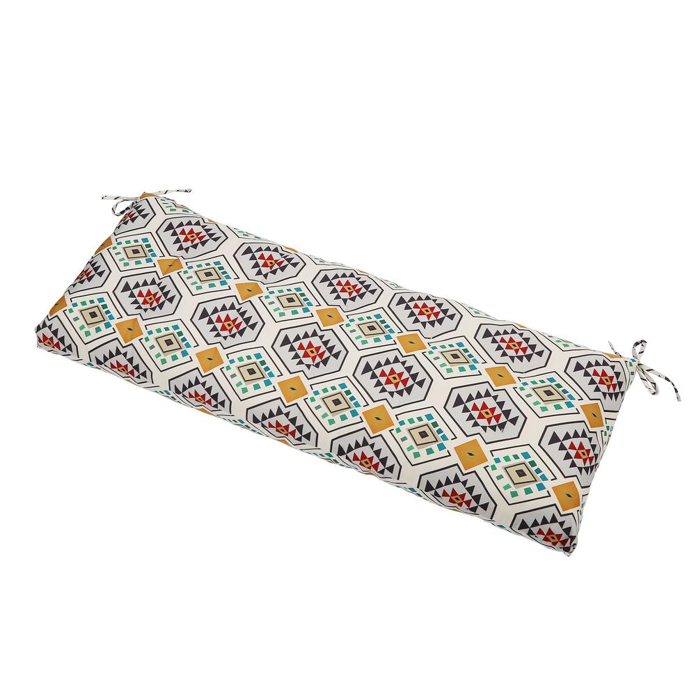 LNC Multicolor Geometric Rectangle Outdoor Bench Cushion