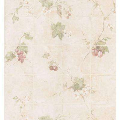 Kitchen and Bath Resource II Off-White Vine Tile Wallpaper Sample