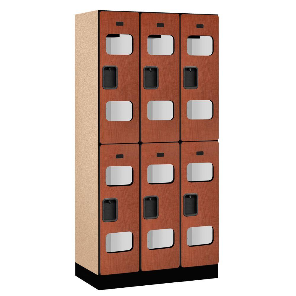 Salsbury Industries S-32000 Series 36 in. W x 76 in. H x 18 in. D 2-Tier See-Through Designer Wood Locker in Cherry