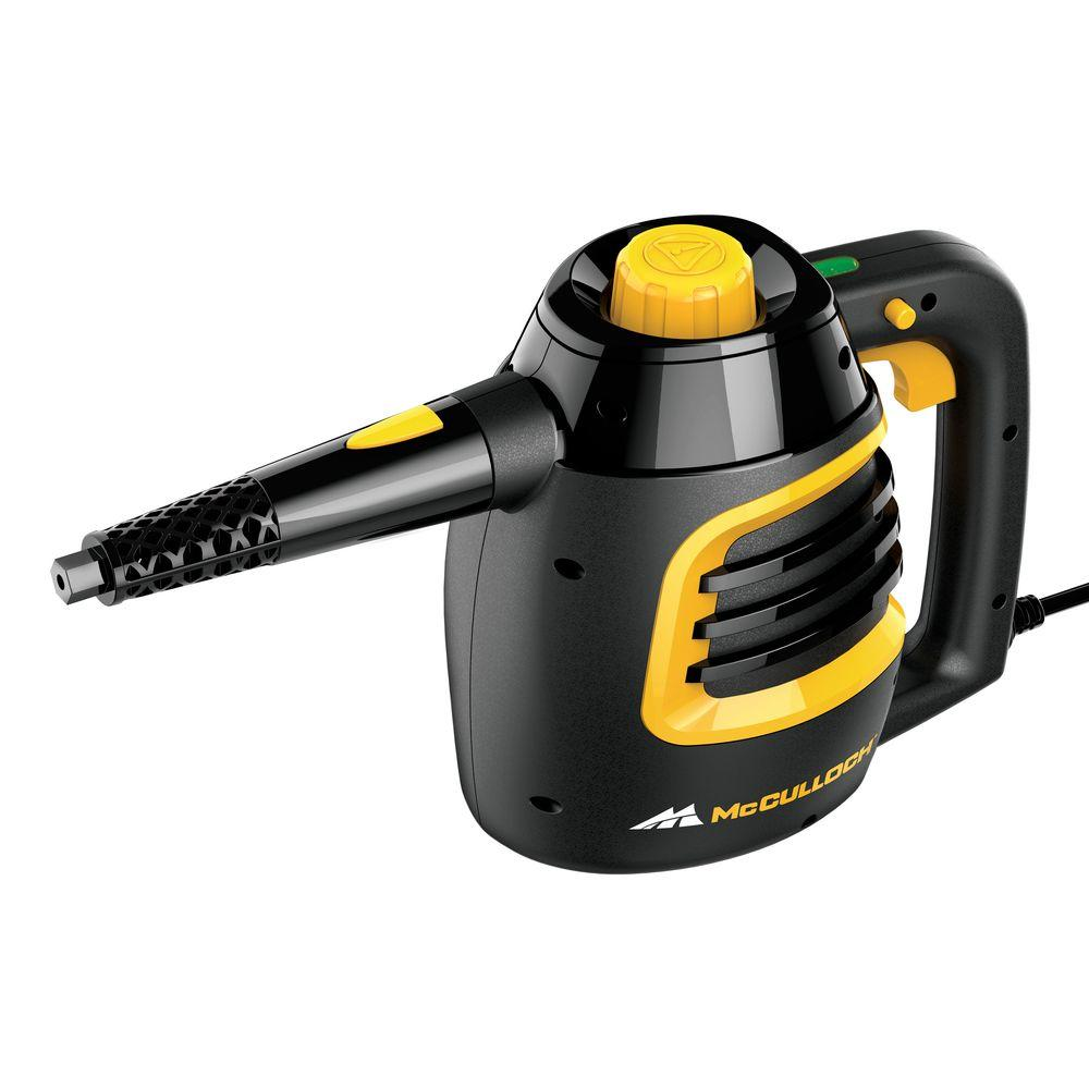 The McCulloch Heavy-Duty Steam Cleaner is a professional-quality piece of equipment designed for tackling the toughest jobs in your garage and workshop. It uses ordinary water heated to more than Degree F to clean and sanitize a wide variety of surfaces and items, such as greasy tools, floorPrice: $