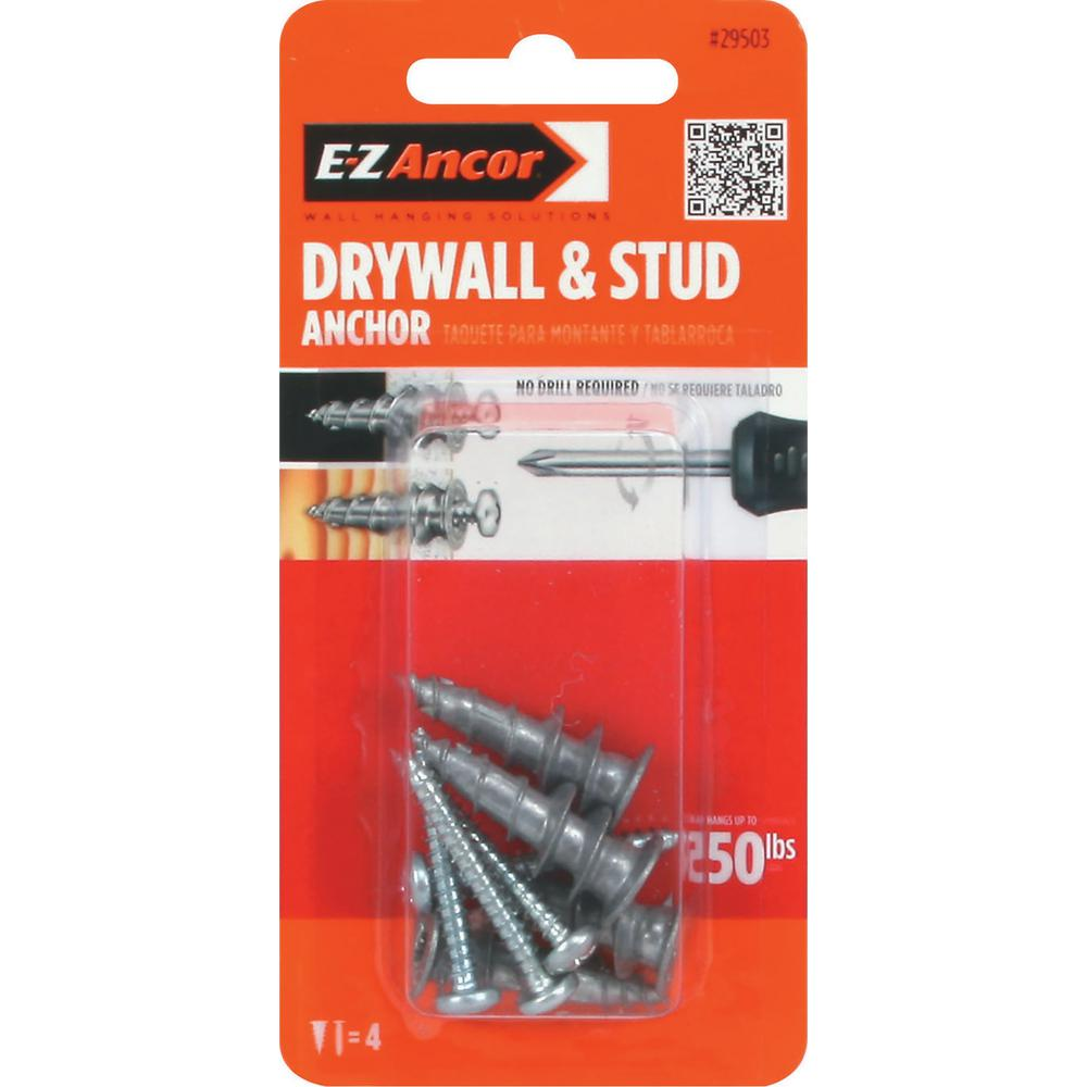 E-Z Ancor Stud Solver #7 x 1-1/4 in. Alloy Flat-Head Self-Drilling Drywall Anchors with Screws (4-Pack)