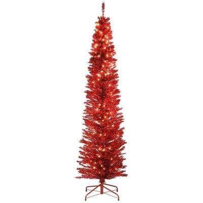 7 ft. Red Tinsel Tree with Metal Stand and 210 Clear Lights