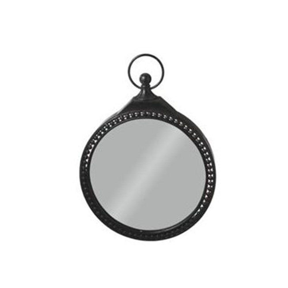 Filament Design Sundry 24 in. x 17.75 in. Black Pocket Watch Framed Wall Mirror