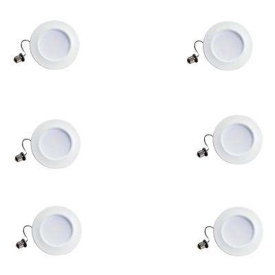 65-Watt Equivalent Soft White 5 in./6 in. Dimmable Integrated LED Retrofit Recessed Trim with Warm Glow (6-Pack)