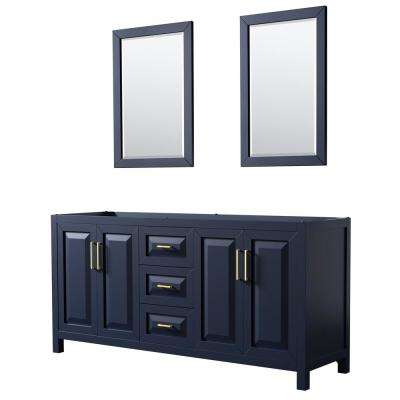 Daria 71 in. Double Bathroom Vanity Cabinet Only with 24 in. Mirrors in Dark Blue