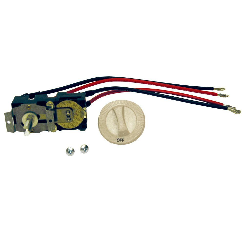 Cadet Com-Pak Series Almond Integral Double-Pole 22 Amp Thermostat Kit