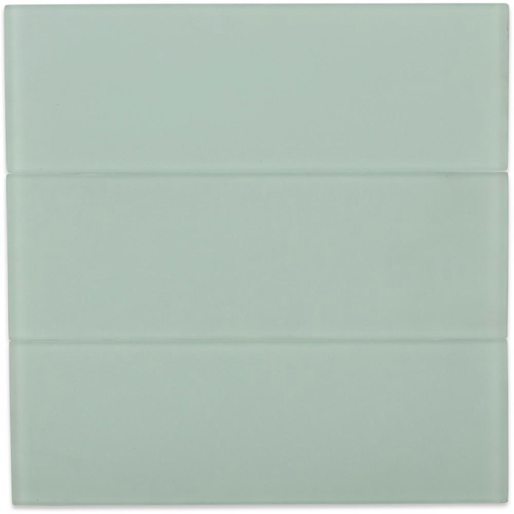 Splashback Tile Contempo Seafoam Frosted 4 in. x 12 in. Glass Tile ...