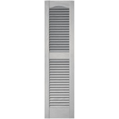 12 in. x 48 in. Louvered Vinyl Exterior Shutters Pair in #030 Paintable