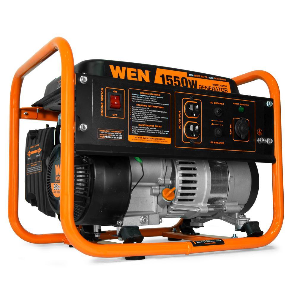 4-Stroke 98 cc 1550-Watt Portable Gas-Powered Generator, CARB Compliant