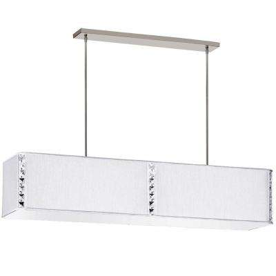 Elise 4-Light Pearl Rectangular Ceiling Fixture with Crystal Accents and Pearl Silk Glow Rectangular Shade