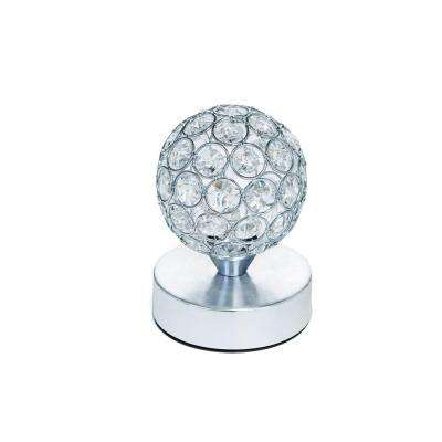 7 in. Battery Operated Table Lamp, W/Crystals - Pictured with Cool White LED Bulbs
