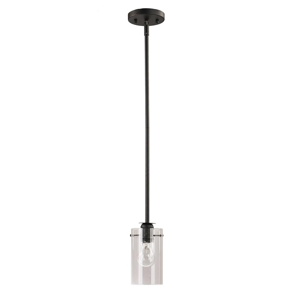 DSI Brooklyn Collection 1-Light Black Mini Pendant with Clear Glass Shade