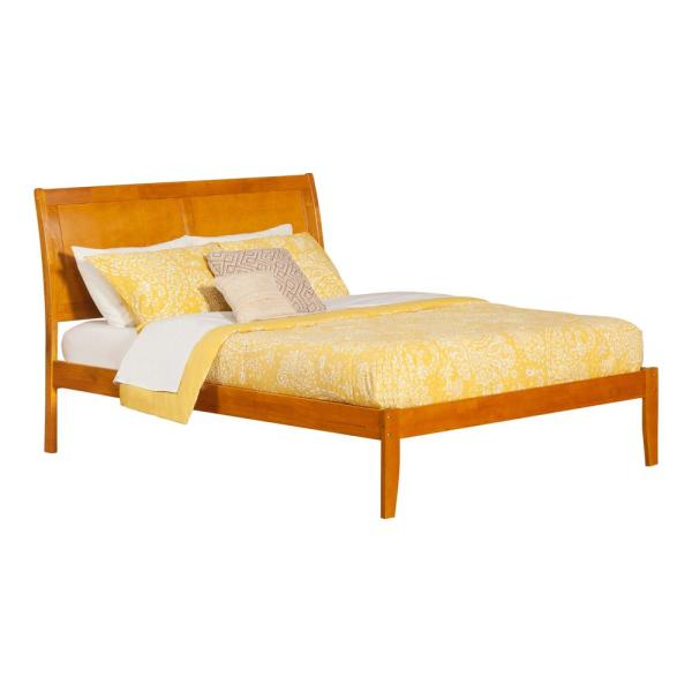 Atlantic Furniture Portland Caramel Latte King Platform Bed with Open Foot