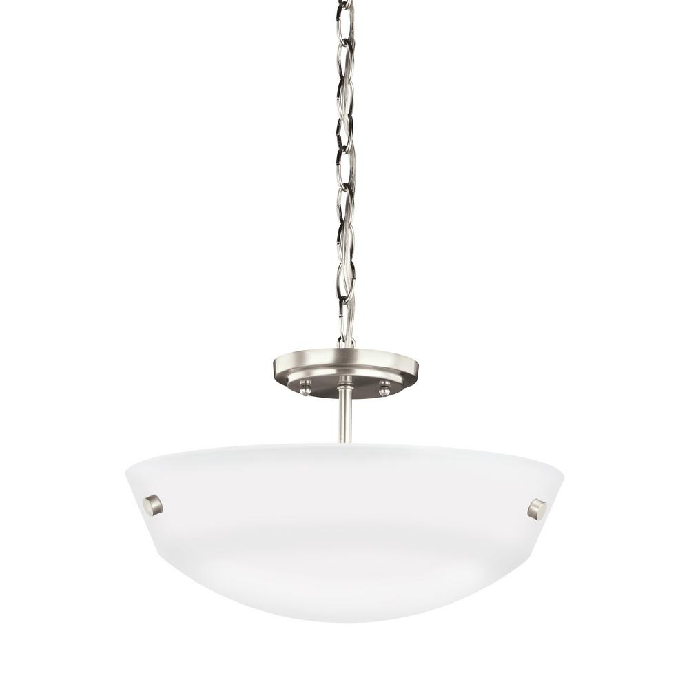 Kerrville 2-Light Brushed Nickel Semi-Flushmount Convertible Pendant with LED Bulbs