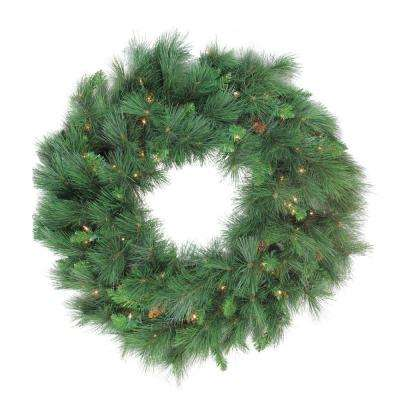 48 in. PreLlit White Valley Pine Artificial Christmas Wreath with Clear Lights