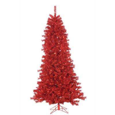 pre lit red curly tinsel artificial christmas tree