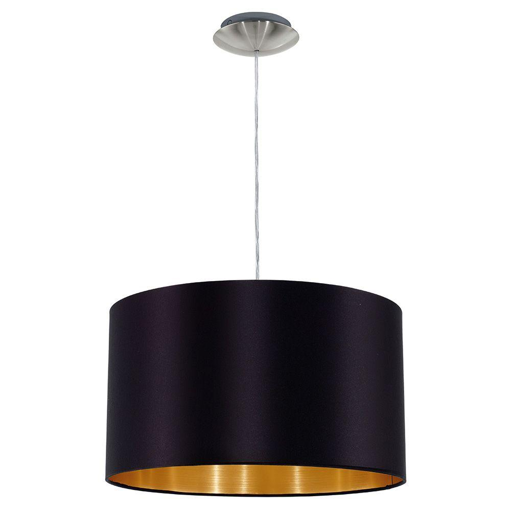 Maserlo 15 in. 1-LightSatin Nickel Pendant with Black and Gold Cloth Drum Shade