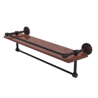Waverly Place Collection 22 in. IPE Ironwood Shelf with Gallery Rail and Towel Bar in Venetian Bronze